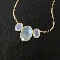 Aqua Chalcedony Necklace, Gold Necklace, Layering Necklace, Gemstone Necklace
