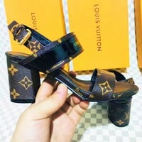 LV Slippers Louis Vuitton Sandals Women High Heel Word Shoes B-ALS-XZ Coffee Print