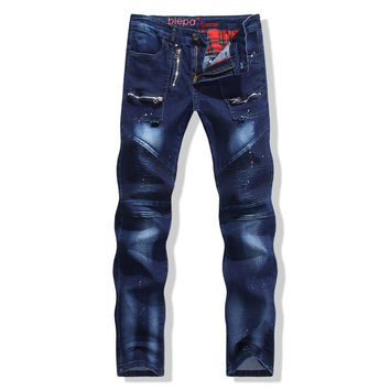 Hot Sale Strong Character Stretch Slim Denim Pants Zippers Men's Fashion Jeans [6541747395]