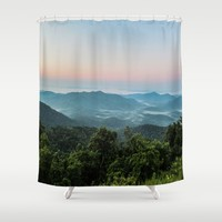 The Morning Mists Shower Curtain by Gwendalyn Abrams