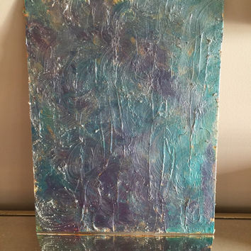 Original textured abstract acrylic painting on 11x14 canvas panel with blue, teal, silver, purple, and hints of gold