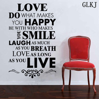 Love DIY Happy Live Laugh Smile Inspirational Wall Art Vinyl Decal Sticker Quote