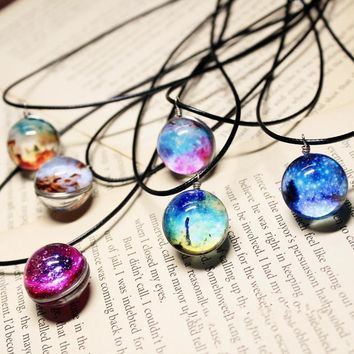 Moon And Galaxy Necklace Glass Galaxy Pattern Moon Necklaces For Women