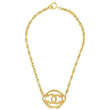 Chanel Gold CC Charm Single Strand Chain Link Choker Pendant Necklace