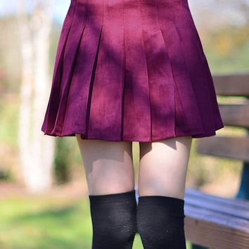 High Waist Pleated Faux-Suede Skirt