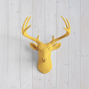 The MINI Virginia Curry Orange Faux Taxidermy Resin Deer Head Wall Mount | Curry Orange Stag w/ Colored Antlers