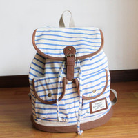 vivi retro fresh stripe/zebra-stripe woman backpack/bag-blue
