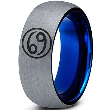 Horoscope Cancer Symbol Tungsten Ring