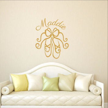 Personalized Ballet Slippers Vinyl Wall Decal 22295
