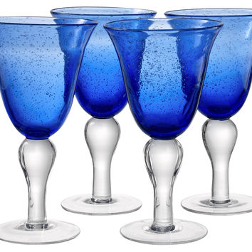 Iris Goblets, Cobalt Blue, Set of 4, Wine Glasses
