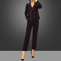 """""""Dior"""" Women Fashion Pajamas Style Tailored Collar Long Sleeve Cardigan Tops Wide Leg Pants Trousers Set Two-Piece"""