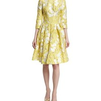 Zac Posen Floral 3/4-Sleeve Fit-&-Flare Dress, Lemon Daisy
