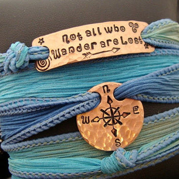 "SALE D2E silk yoga wrap bracelet hand stamped ""Not All Who Wander Are Lost"" Compass design, Magnetic clasp adjustable"