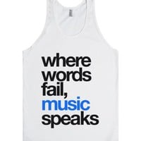 Where Words Fail Music Speaks Tank Top Blue Black (idc402212)-Tank