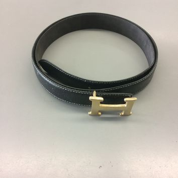 Authentic Vintage Original Hermes Mens Belt Leather Black