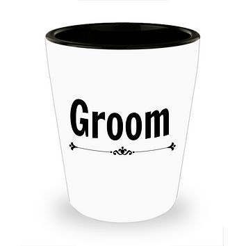 Groom Wedding shot glass Personalize Groom party favor bachelor gift ceramic Groom to be gift