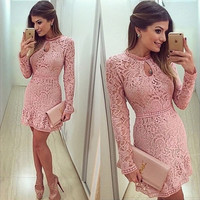 Womens Bandage Bodycon Lace Evening Dress Party Cocktail Mini Dress Long Sleeve = 5861606913