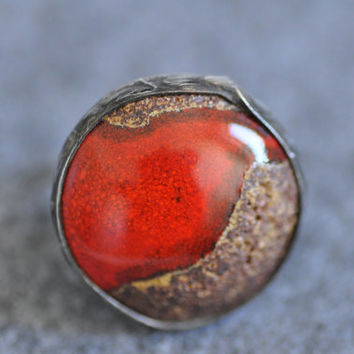 Ceramic ring, red ring,  adjustable ring, gift for her, zolanna, handmade, author, natural ring cocktail boho style