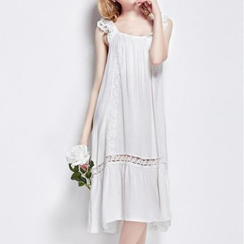 New !European and American style women nightgown wellmade bow lace hollow cotton white color sleep dress for ladies