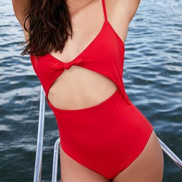 Red Knot Front Cut Out One Piece Beachwear