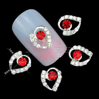 20pcs 3D Red Heart Nail Art Diamond Crystal Rhinestones Alloy Nail Tips Charm