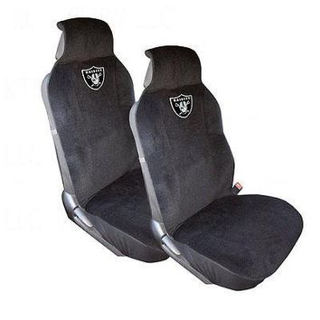 Licensed Official New NFL Oakland Raiders 2 Front Car Truck SUV Van Front Sideless Seat Covers