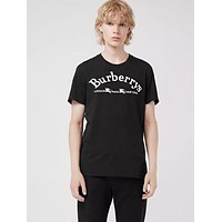 BURBERRY New Popular Women Men Classic Embroidery Couple T-Shirt Top Blouse Black