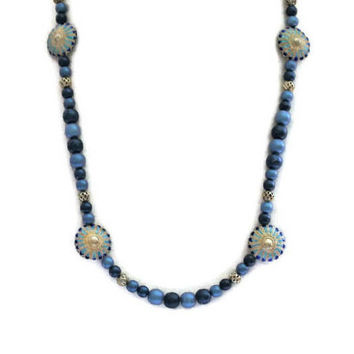 Blue Enamel Flower Necklace, With Glass And Filigree Beads, Boho Jewelry