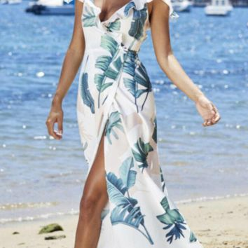 Printed strap side slit beach skirt dress