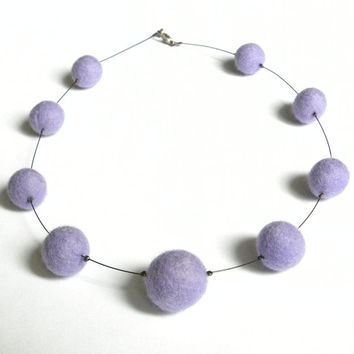 Violet felted necklace balls light delicate for a girl beads merino wool gift for her felt balls necklace gift mother