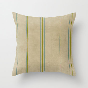 Blue and Green Ticking Striped Linen Throw Pillow Cover Home Decor Natural Tan Decorative Throw Pillow Cover