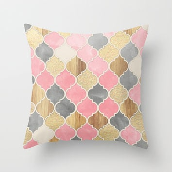Silver Grey, Soft Pink, Wood & Gold Moroccan Pattern Throw Pillow by Micklyn