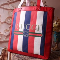 GUCCI WOMEN'S 2018 NEW STYLE CLOTH AND LEATHER TOTE BAG