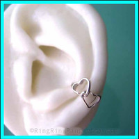 Double love heart 925 Solid sterling silver ear by RingRingRing