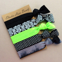 The Lime Sophisticated Hair Tie Collection - 5 Elastic Hair Ties - Ponytail Holder - by Elastic Hair Bandz on Etsy