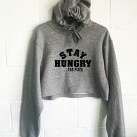 Stay Hungry For Pizza Cropped Hoodie