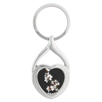 Sakura flowers Silver-Colored Heart-Shaped metal keychain