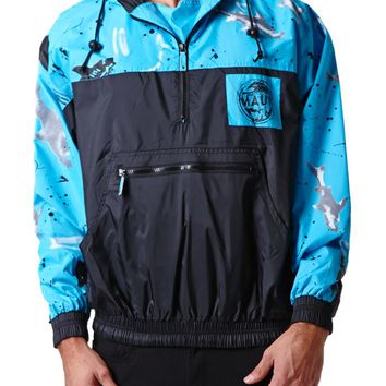 Maui & Sons Sharks! Windbreaker Jacket - Mens Jacket - Purple