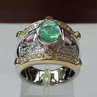 18k gold emerald cocktail ring