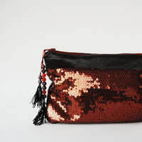 Sequin Clutch Bag, Metallic Evening Bag Purse, Copper Rust Brown Sequin Clutch,