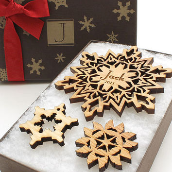 2014 Custom Snowflake Ornament Gift Box - Laser Cut Wood Snowflake Ornament in a Monogram Eco Friendly Gift Box - Timber Green Woods