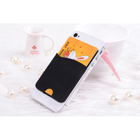 Pure Color Silicone Phone Card Holder Back Stickers Smart Wallet Card Slot Stickers for Smart Phones