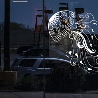 Window Wall Vinyl Decal Jellyfish Sea Animal Beach Style Marine Art Stickers Unique Gift (ig4119w)
