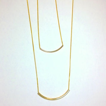 Minimalist Gold Chain Necklace, Double Strand, Gold Plated, Thin Chain, Curved Bar, Tube Bead, Noodle, Layering Necklace, Stacking Necklace