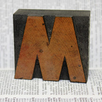 Antique letterpress letter M or W - 2 inches by 2.25 inches - wood