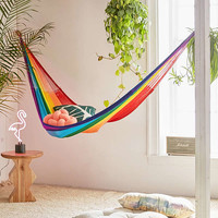 Yellow Leaf Rainbow Double Hammock | Urban Outfitters