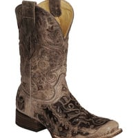 Corral Caiman Inlay Cowboy Boot - Wide Square Toe - Sheplers