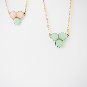 Honeycomb mint peach necklace. Minimalistic necklace. Choose Your Color necklace Geometric necklace Pastel necklace