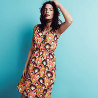 Printed V-Neck Elastic Waist Dress