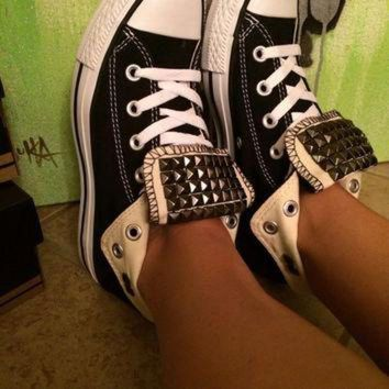 CREYUG7 Custom Gun Metal Studded Black Converse All Star High Tops - Chuck Taylors ALL SIZES &